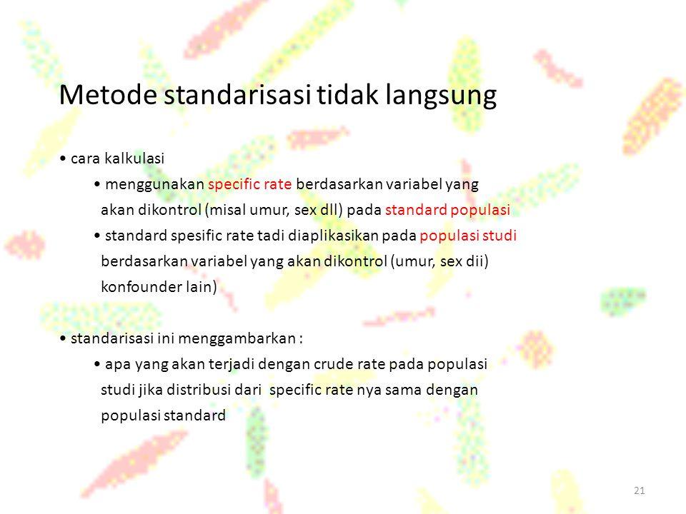 21 Metode standarisasi tidak langsung cara kalkulasi menggunakan specific rate berdasarkan variabel yang akan dikontrol (misal umur, sex dll) pada sta