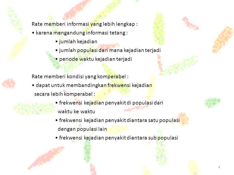 4 Rate memberi informasi yang lebih lengkap : karena mengandung informasi tetang : jumlah kejadian jumlah populasi dari mana kejadian terjadi periode