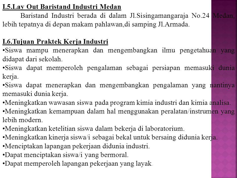 I.5.Lay Out Baristand Industri Medan Baristand Industri berada di dalam Jl.Sisingamangaraja No.24 Medan, lebih tepatnya di depan makam pahlawan,di sam