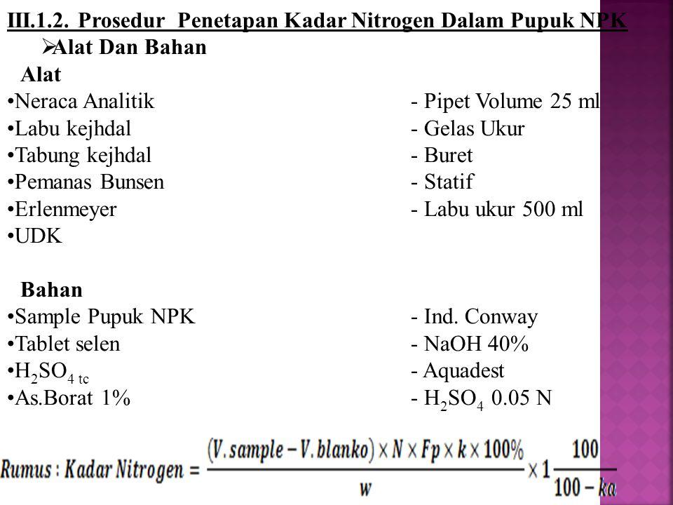 III.1.2. Prosedur Penetapan Kadar Nitrogen Dalam Pupuk NPK  Alat Dan Bahan Alat Neraca Analitik - Pipet Volume 25 ml Labu kejhdal- Gelas Ukur Tabung