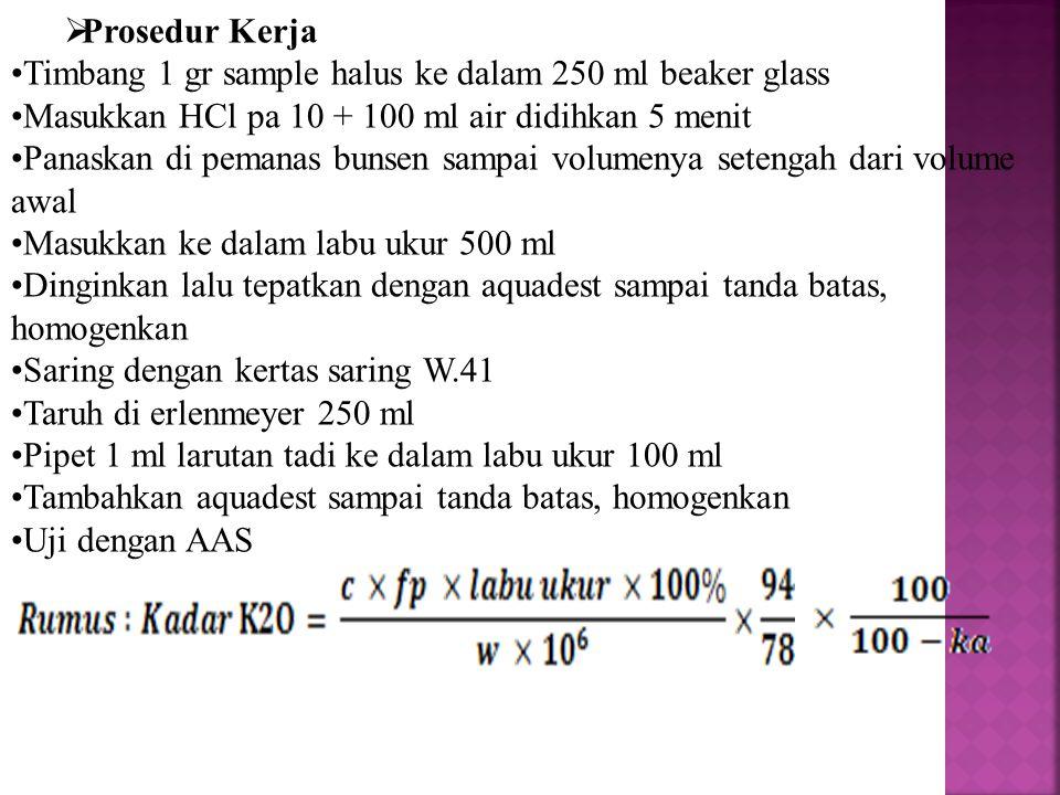  Prosedur Kerja Timbang 1 gr sample halus ke dalam 250 ml beaker glass Masukkan HCl pa 10 + 100 ml air didihkan 5 menit Panaskan di pemanas bunsen sa