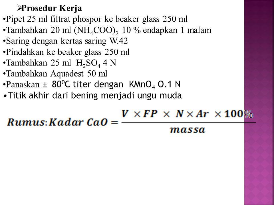  Prosedur Kerja Pipet 25 ml filtrat phospor ke beaker glass 250 ml Tambahkan 20 ml (NH 4 COO) 2 10 % endapkan 1 malam Saring dengan kertas saring W.4