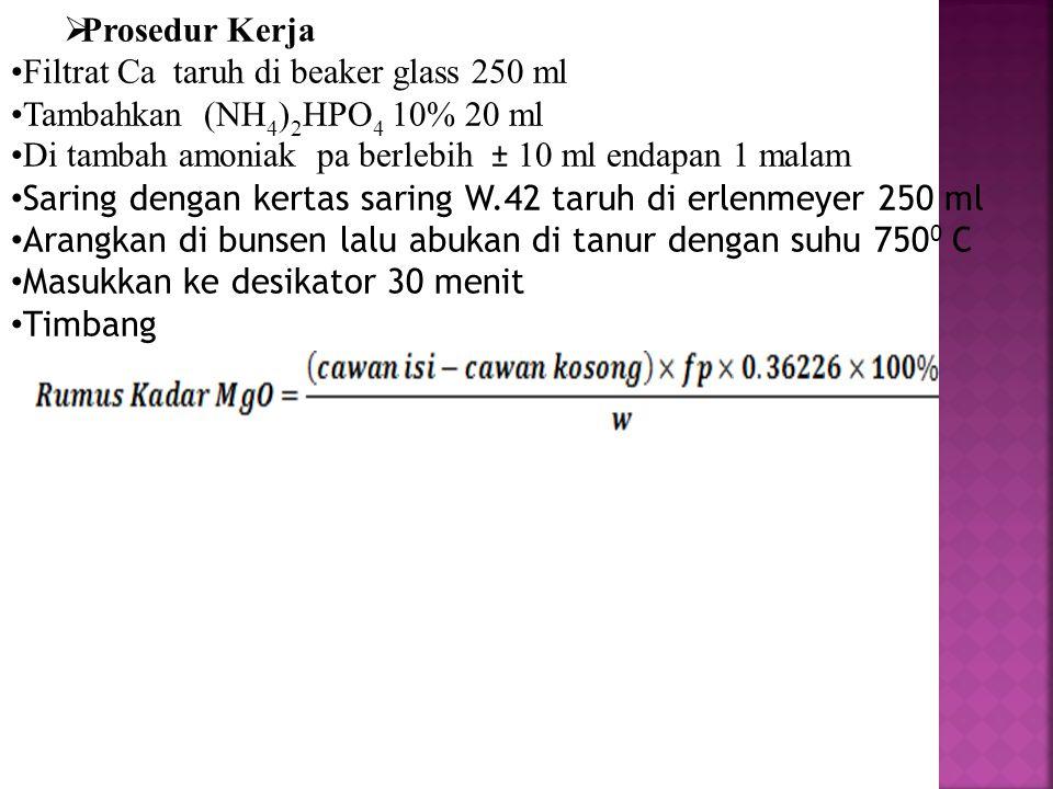  Prosedur Kerja Filtrat Ca taruh di beaker glass 250 ml Tambahkan (NH 4 ) 2 HPO 4 10% 20 ml Di tambah amoniak pa berlebih ± 10 ml endapan 1 malam Sar