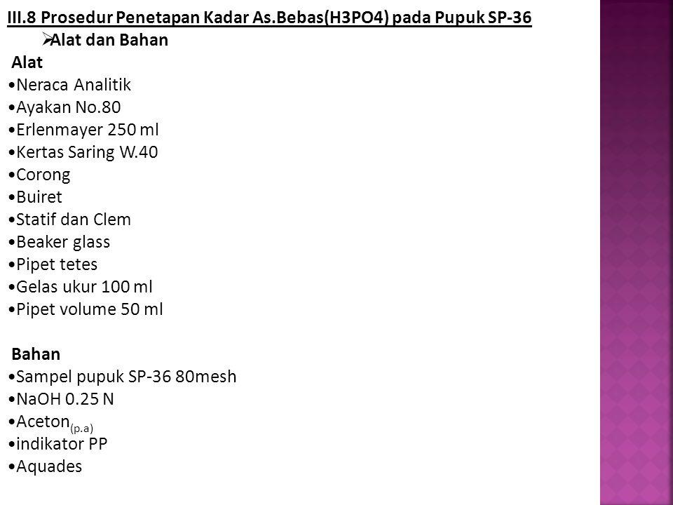 III.8 Prosedur Penetapan Kadar As.Bebas(H3PO4) pada Pupuk SP-36  Alat dan Bahan Alat Neraca Analitik Ayakan No.80 Erlenmayer 250 ml Kertas Saring W.4