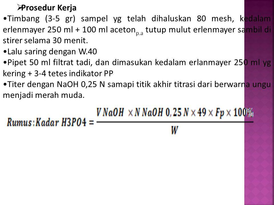  Prosedur Kerja Timbang (3-5 gr) sampel yg telah dihaluskan 80 mesh, kedalam erlenmayer 250 ml + 100 ml aceton p.a tutup mulut erlenmayer sambil di s