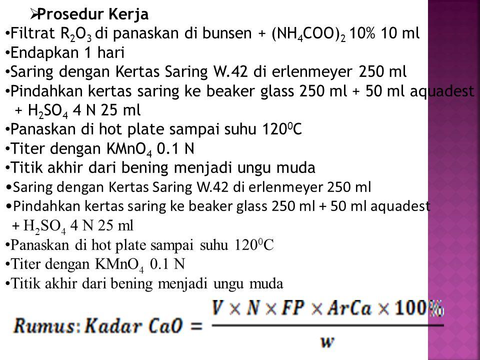  Prosedur Kerja Filtrat R 2 O 3 di panaskan di bunsen + (NH 4 COO) 2 10% 10 ml Endapkan 1 hari Saring dengan Kertas Saring W.42 di erlenmeyer 250 ml