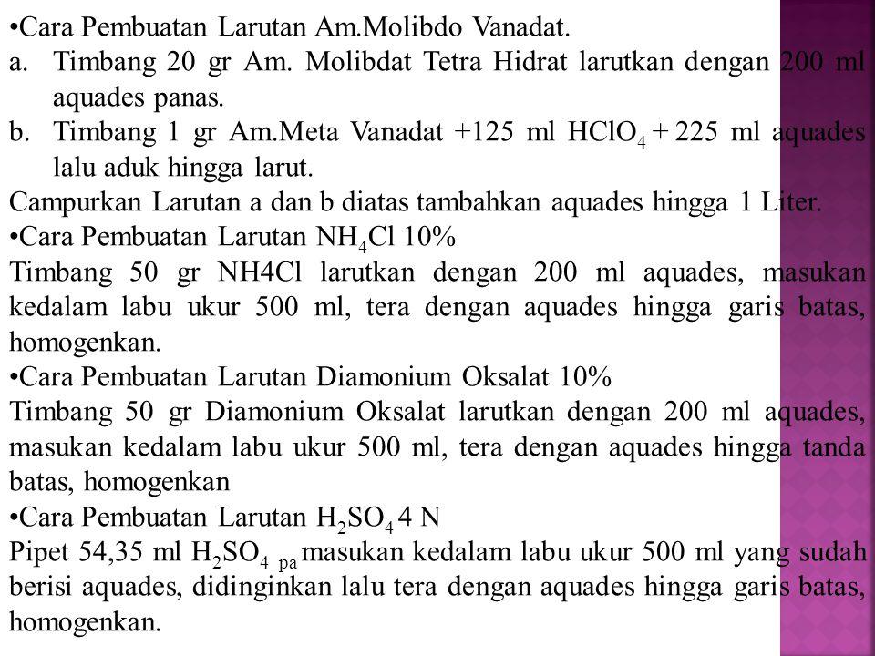 Cara Pembuatan Larutan Am.Molibdo Vanadat. a.Timbang 20 gr Am. Molibdat Tetra Hidrat larutkan dengan 200 ml aquades panas. b.Timbang 1 gr Am.Meta Vana