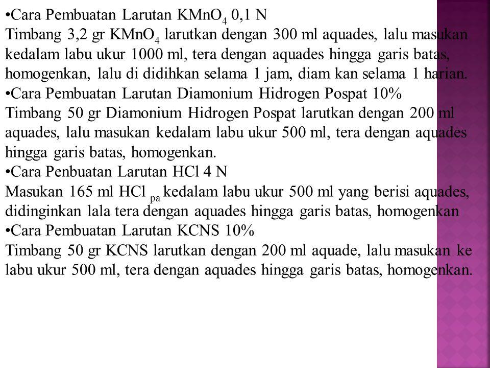 Cara Pembuatan Larutan KMnO 4 0,1 N Timbang 3,2 gr KMnO 4 larutkan dengan 300 ml aquades, lalu masukan kedalam labu ukur 1000 ml, tera dengan aquades