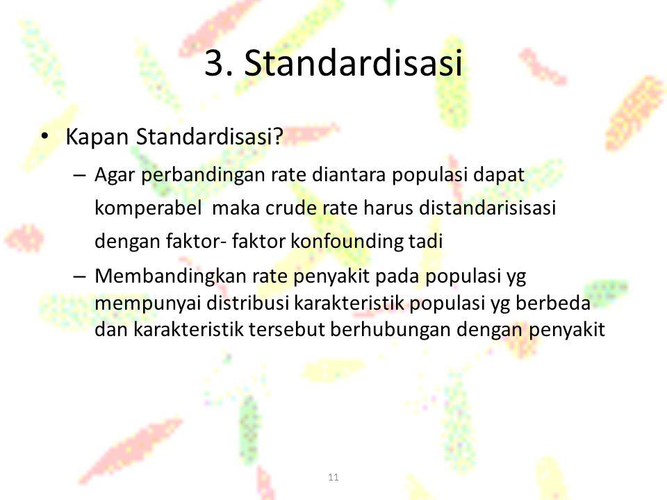 11 3. Standardisasi Kapan Standardisasi? – Agar perbandingan rate diantara populasi dapat komperabel maka crude rate harus distandarisisasi dengan fak