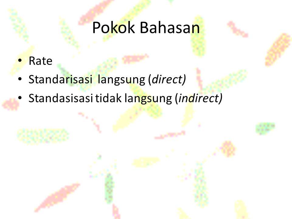 Pokok Bahasan Rate Standarisasi langsung (direct) Standasisasi tidak langsung (indirect)