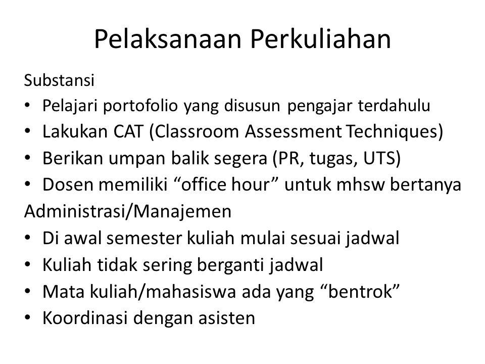 Substansi Pelajari portofolio yang disusun pengajar terdahulu Lakukan CAT (Classroom Assessment Techniques) Berikan umpan balik segera (PR, tugas, UTS