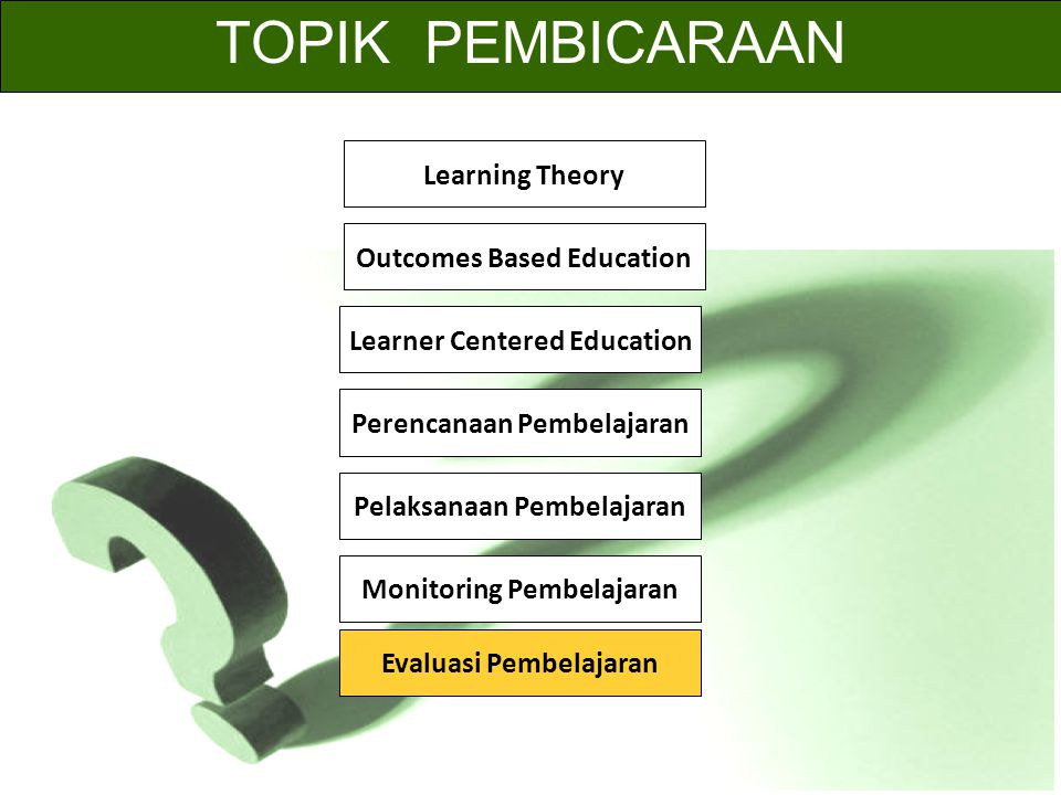 TOPIK PEMBICARAAN Learning Theory Outcomes Based Education Learner Centered Education Perencanaan Pembelajaran Pelaksanaan Pembelajaran Monitoring Pembelajaran Evaluasi Pembelajaran