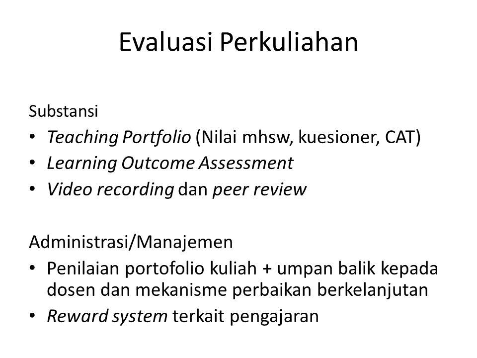 Substansi Teaching Portfolio (Nilai mhsw, kuesioner, CAT) Learning Outcome Assessment Video recording dan peer review Administrasi/Manajemen Penilaian portofolio kuliah + umpan balik kepada dosen dan mekanisme perbaikan berkelanjutan Reward system terkait pengajaran Evaluasi Perkuliahan