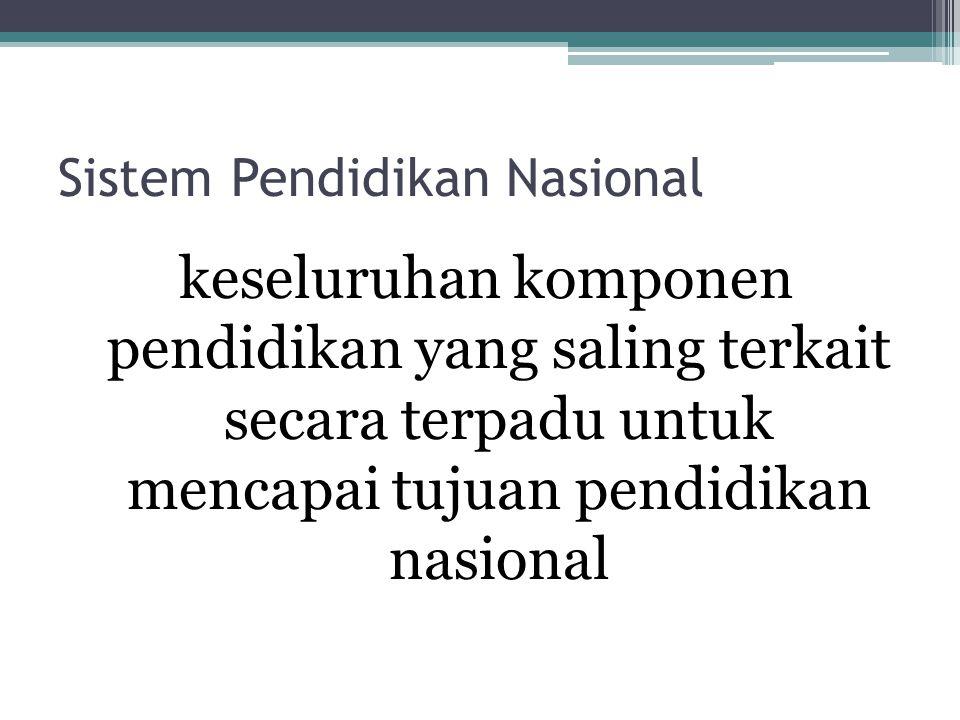Sistem Pendidikan Nasional keseluruhan komponen pendidikan yang saling terkait secara terpadu untuk mencapai tujuan pendidikan nasional