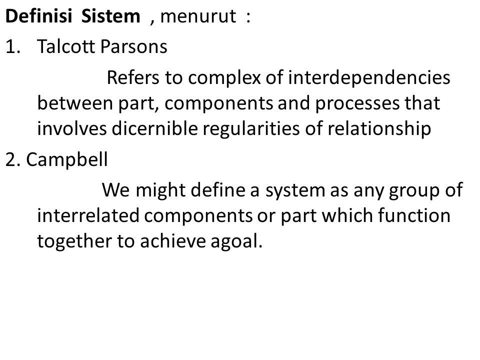 Jadi Sistem Sosial, adalah Keseluruhan hubungan unsur/komponen/subsistem yang ada dalam masyarakat (sosial)secara teratur dan saling mempengaruhi serta saling ketergantungan, untuk mewujutkan keseimbangan Sistem sos, bukan sekedar penjumlahan unsur/komponen