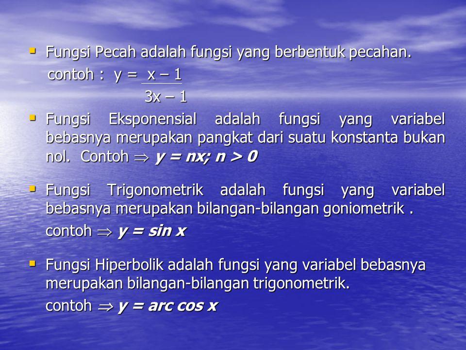  Fungsi Pecah adalah fungsi yang berbentuk pecahan. contoh : y = x – 1 contoh : y = x – 1 3x – 1 3x – 1  Fungsi Eksponensial adalah fungsi yang vari