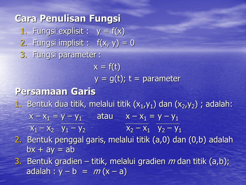Cara Penulisan Fungsi 1. Fungsi explisit : y = f(x) 2. Fungsi implisit : f(x, y) = 0 3. Fungsi parameter : x = f(t) x = f(t) y = g(t); t = parameter y