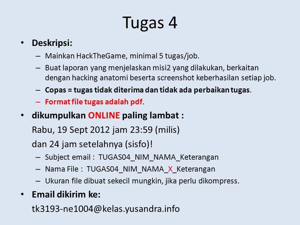 Tugas 4 Deskripsi: – Mainkan HackTheGame, minimal 5 tugas/job. – Buat laporan yang menjelaskan misi2 yang dilakukan, berkaitan dengan hacking anatomi