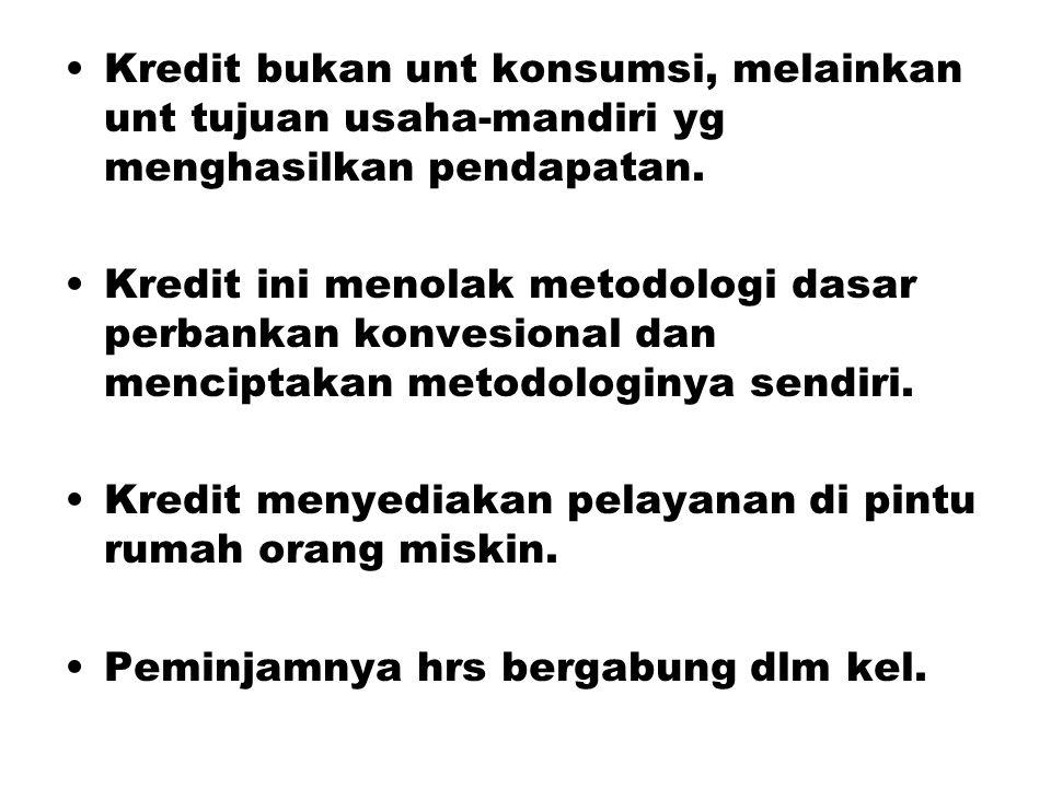 Kredit bukan unt konsumsi, melainkan unt tujuan usaha-mandiri yg menghasilkan pendapatan. Kredit ini menolak metodologi dasar perbankan konvesional da