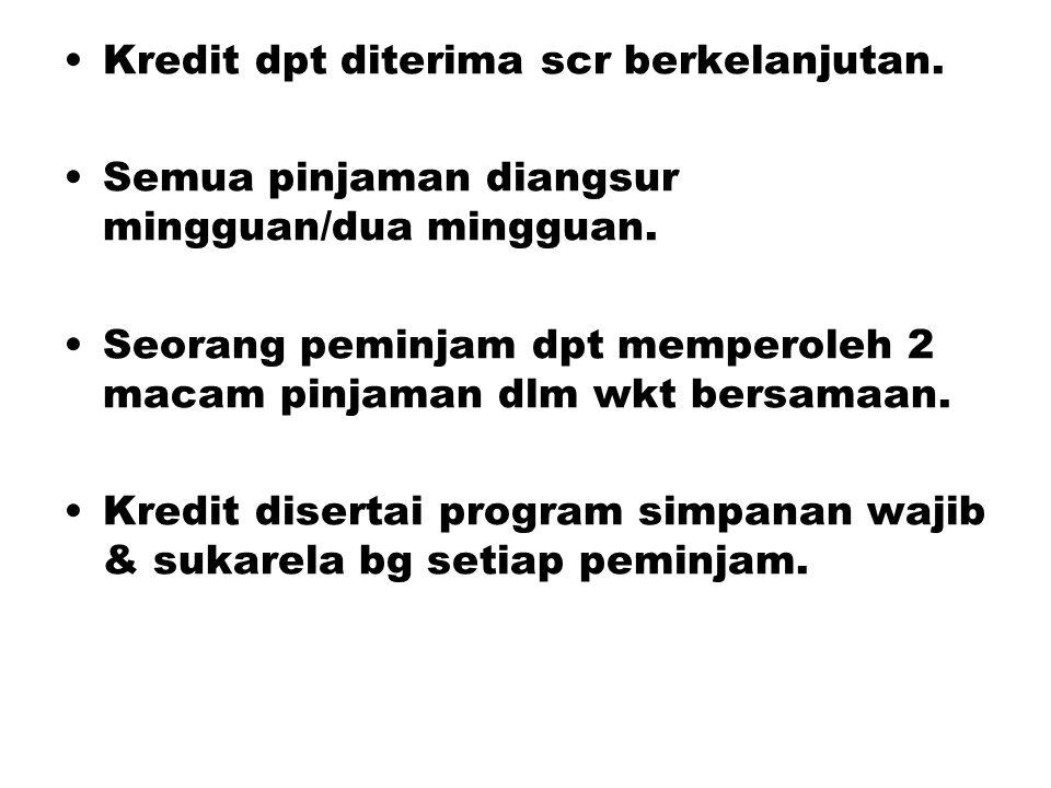 Kredit dpt diterima scr berkelanjutan. Semua pinjaman diangsur mingguan/dua mingguan. Seorang peminjam dpt memperoleh 2 macam pinjaman dlm wkt bersama