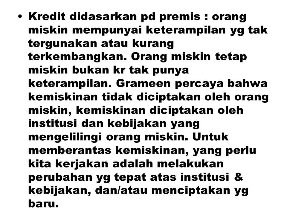 Kredit didasarkan pd premis : orang miskin mempunyai keterampilan yg tak tergunakan atau kurang terkembangkan. Orang miskin tetap miskin bukan kr tak