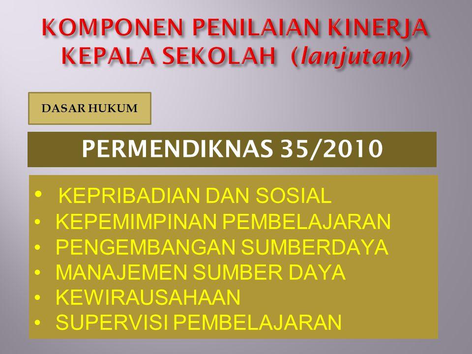 KEPRIBADIAN DAN SOSIAL KEPEMIMPINAN PEMBELAJARAN PENGEMBANGAN SUMBERDAYA MANAJEMEN SUMBER DAYA KEWIRAUSAHAAN SUPERVISI PEMBELAJARAN PERMENDIKNAS 35/20