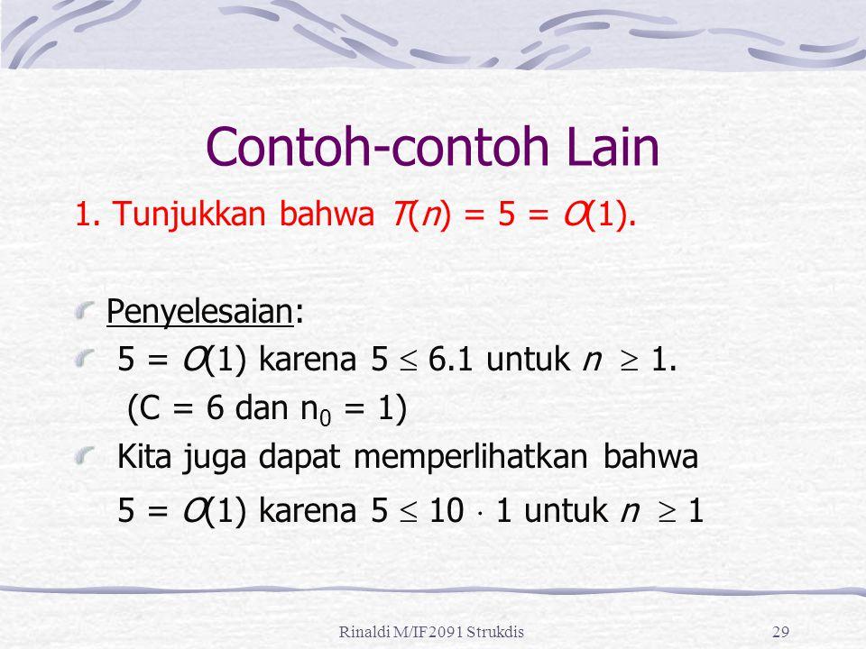 Rinaldi M/IF2091 Strukdis29 Contoh-contoh Lain 1. Tunjukkan bahwa T(n) = 5 = O(1). Penyelesaian: 5 = O(1) karena 5  6.1 untuk n  1. (C = 6 dan n 0 =