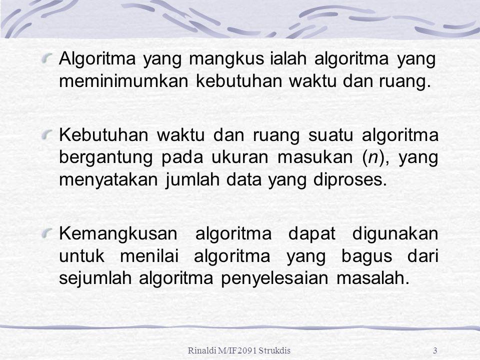 Rinaldi M/IF2091 Strukdis3 Algoritma yang mangkus ialah algoritma yang meminimumkan kebutuhan waktu dan ruang. Kebutuhan waktu dan ruang suatu algorit