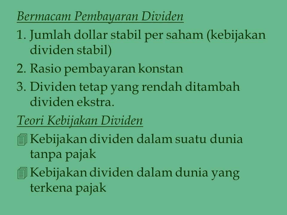Bermacam Pembayaran Dividen 1.Jumlah dollar stabil per saham (kebijakan dividen stabil) 2.Rasio pembayaran konstan 3.Dividen tetap yang rendah ditamba