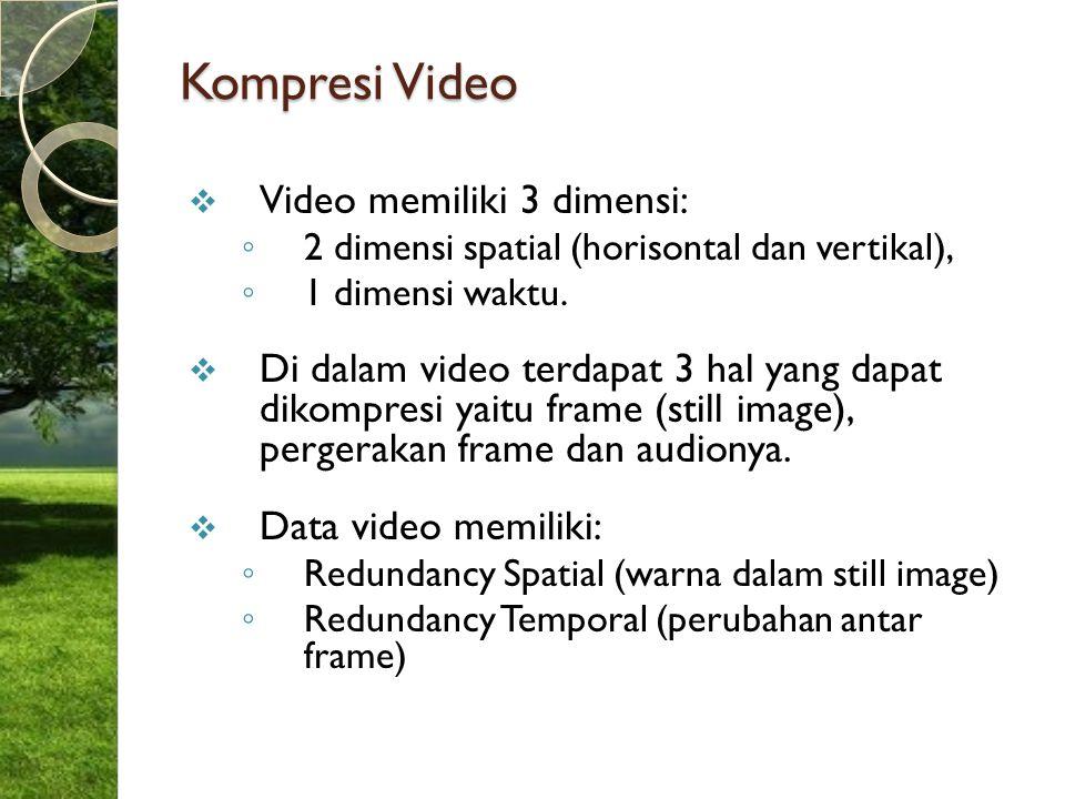 Kompresi Video  Video memiliki 3 dimensi: ◦ 2 dimensi spatial (horisontal dan vertikal), ◦ 1 dimensi waktu.  Di dalam video terdapat 3 hal yang dapa