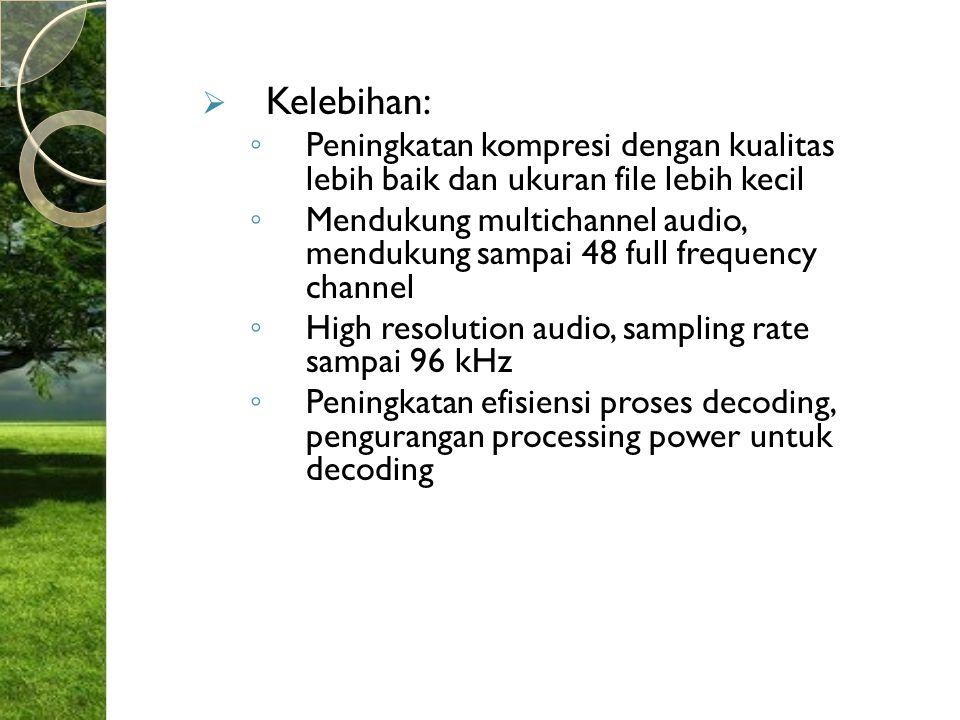  Kelebihan: ◦ Peningkatan kompresi dengan kualitas lebih baik dan ukuran file lebih kecil ◦ Mendukung multichannel audio, mendukung sampai 48 full fr