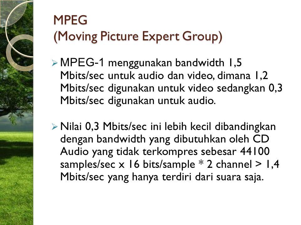 MPEG (Moving Picture Expert Group)  MPEG-1 menggunakan bandwidth 1,5 Mbits/sec untuk audio dan video, dimana 1,2 Mbits/sec digunakan untuk video seda