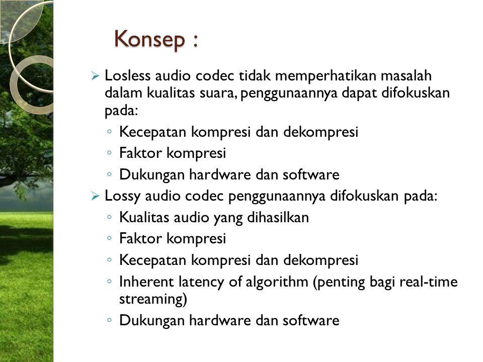 Konsep :  Losless audio codec tidak memperhatikan masalah dalam kualitas suara, penggunaannya dapat difokuskan pada: ◦ Kecepatan kompresi dan dekompr