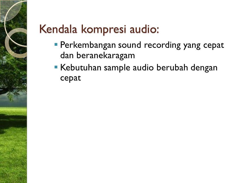 Kendala kompresi audio:  Perkembangan sound recording yang cepat dan beranekaragam  Kebutuhan sample audio berubah dengan cepat