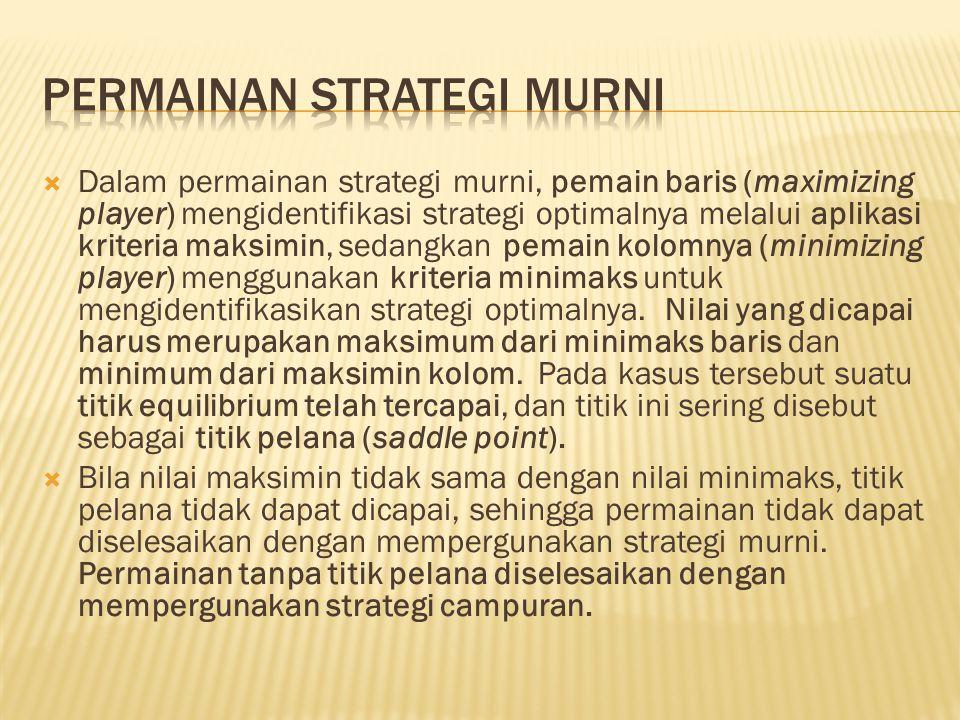  Dalam permainan strategi murni, pemain baris (maximizing player) mengidentifikasi strategi optimalnya melalui aplikasi kriteria maksimin, sedangkan pemain kolomnya (minimizing player) menggunakan kriteria minimaks untuk mengidentifikasikan strategi optimalnya.