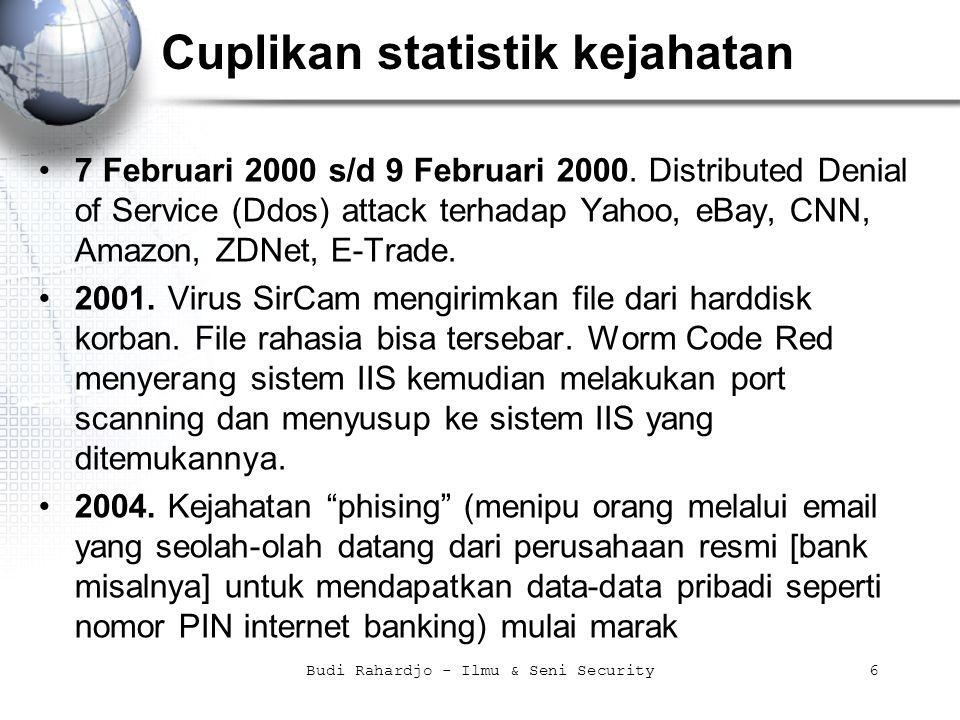 Budi Rahardjo - Ilmu & Seni Security17 Contoh dari praktek (seni) security linux% host –t ns target.co.id linux% host –t mx target.co.id linux% nslookup > server 167.205.21.82 > set type=any > ls –d itb.ac.id >> /tmp/zone_out > ctrl-D linux% nmap 192.168.1.10 Starting nmap V.