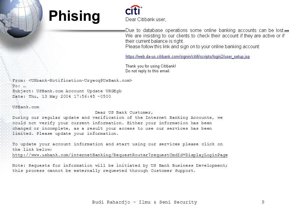 Budi Rahardjo - Ilmu & Seni Security30 source: hacking exposed