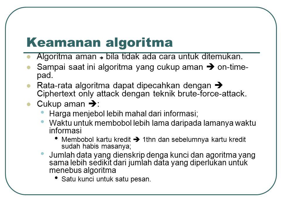Permasalahan algoritma Memastikan keamanan algoritma enkripsi Algoritma harus dievaluasi oleh pakar Algoritma yang tertutup (tidak dibuka kepada publik) dianggap tidak aman Membuat algoritma yang aman tidak mudah Code maker vs code breakers akan terus berlangsung