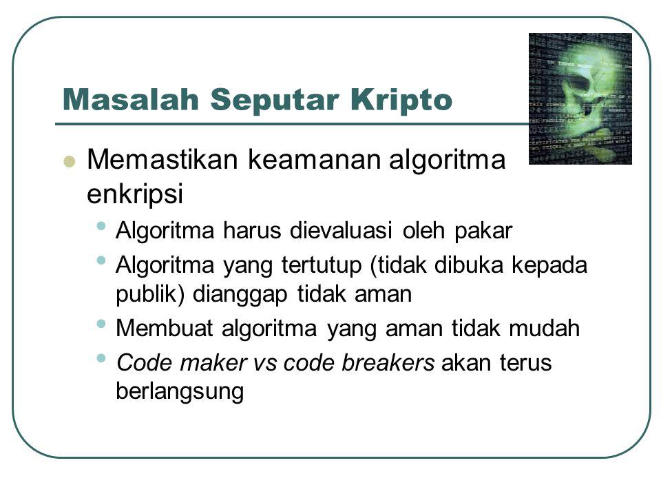 Masalah Seputar Kripto Memastikan keamanan algoritma enkripsi Algoritma harus dievaluasi oleh pakar Algoritma yang tertutup (tidak dibuka kepada publi
