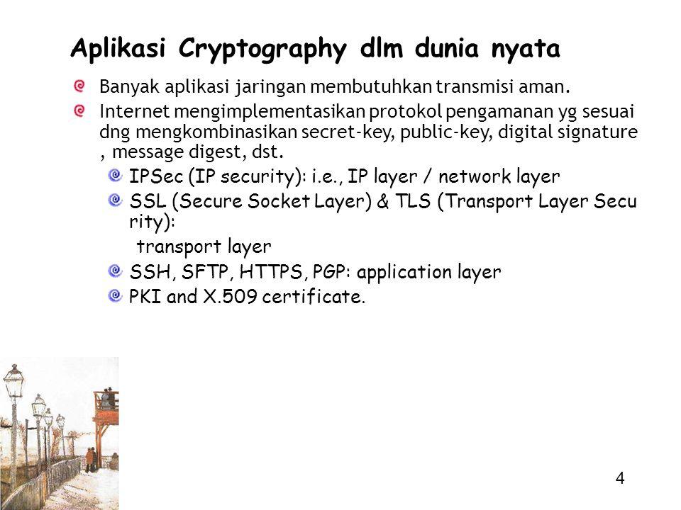 4 Aplikasi Cryptography dlm dunia nyata Banyak aplikasi jaringan membutuhkan transmisi aman. Internet mengimplementasikan protokol pengamanan yg sesua