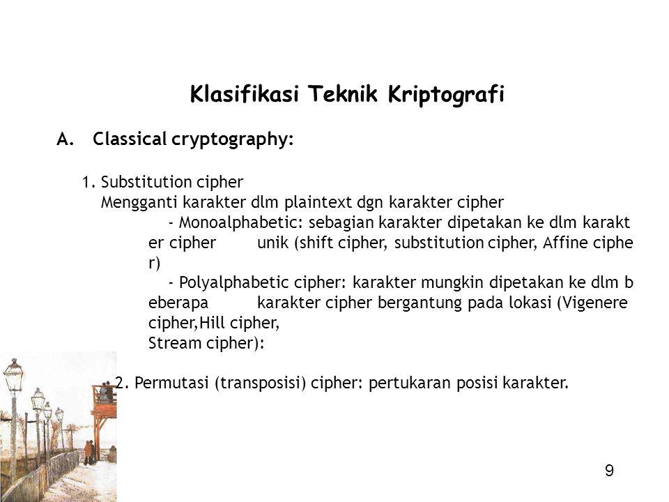 9 Klasifikasi Teknik Kriptografi A. Classical cryptography: 1. Substitution cipher Mengganti karakter dlm plaintext dgn karakter cipher - Monoalphabet