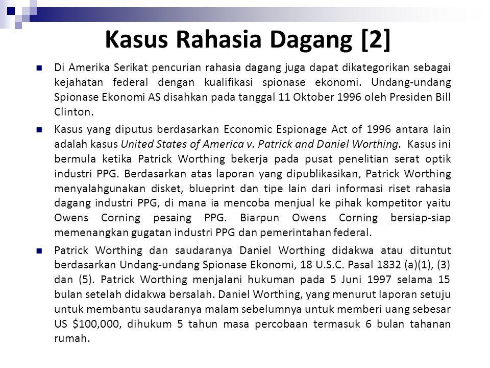 Kasus Rahasia Dagang [1] PT Basuki Pratama Engineering ( berdiri sejak, 1981), mengajukan gugatan ganti rugi melalui Pengadilan Negeri Bekasi terhadap
