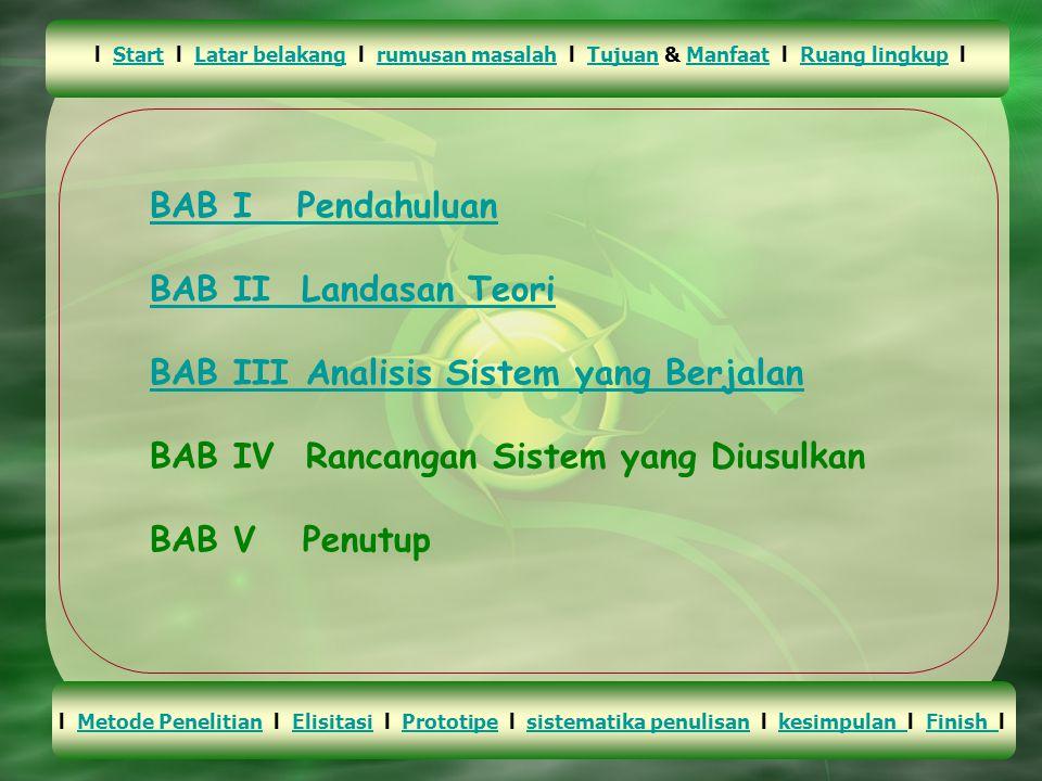 BAB I Pendahuluan BAB II Landasan Teori BAB III Analisis Sistem yang Berjalan BAB IV Rancangan Sistem yang Diusulkan BAB V Penutup l Start l Latar belakang l rumusan masalah l Tujuan & Manfaat l Ruang lingkup lStartLatar belakangrumusan masalahTujuanManfaatRuang lingkup l Metode Penelitian l Elisitasi l Prototipe l sistematika penulisan l kesimpulan l Finish l