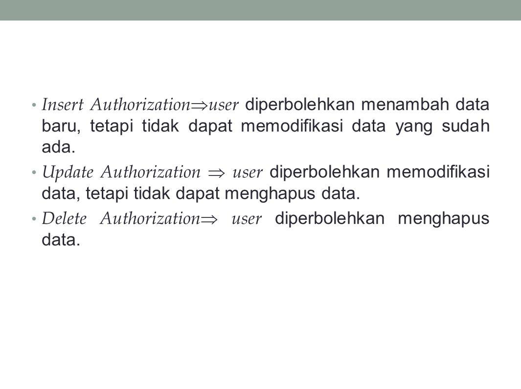 Insert Authorization  user diperbolehkan menambah data baru, tetapi tidak dapat memodifikasi data yang sudah ada.