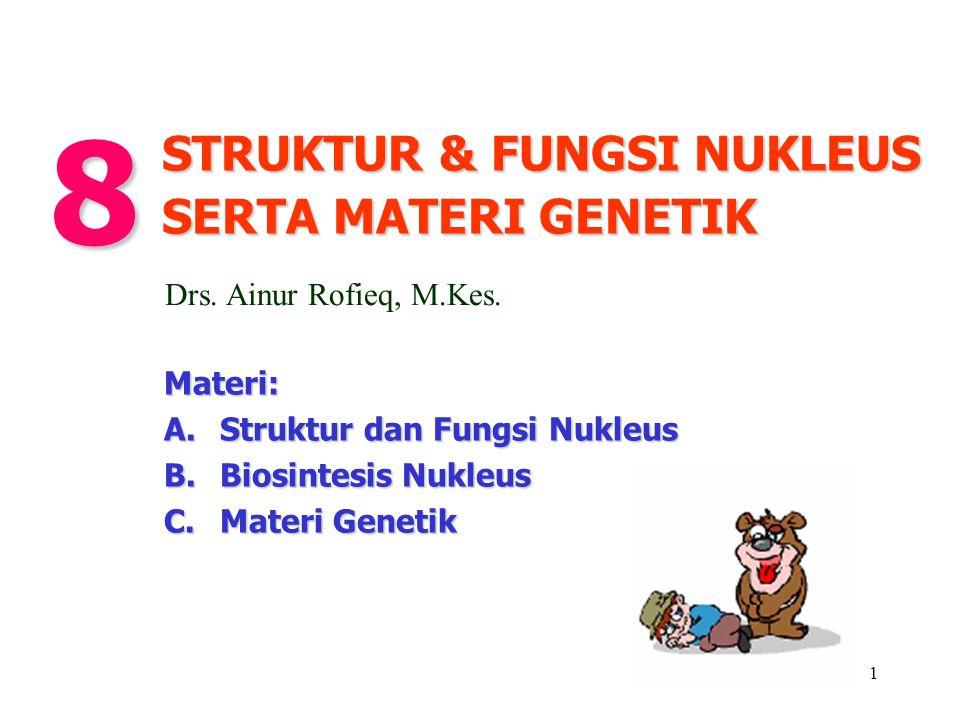 1 Materi: A. Struktur dan Fungsi Nukleus B. Biosintesis Nukleus C.Materi Genetik STRUKTUR & FUNGSI NUKLEUS SERTA MATERI GENETIK 8 Drs. Ainur Rofieq, M