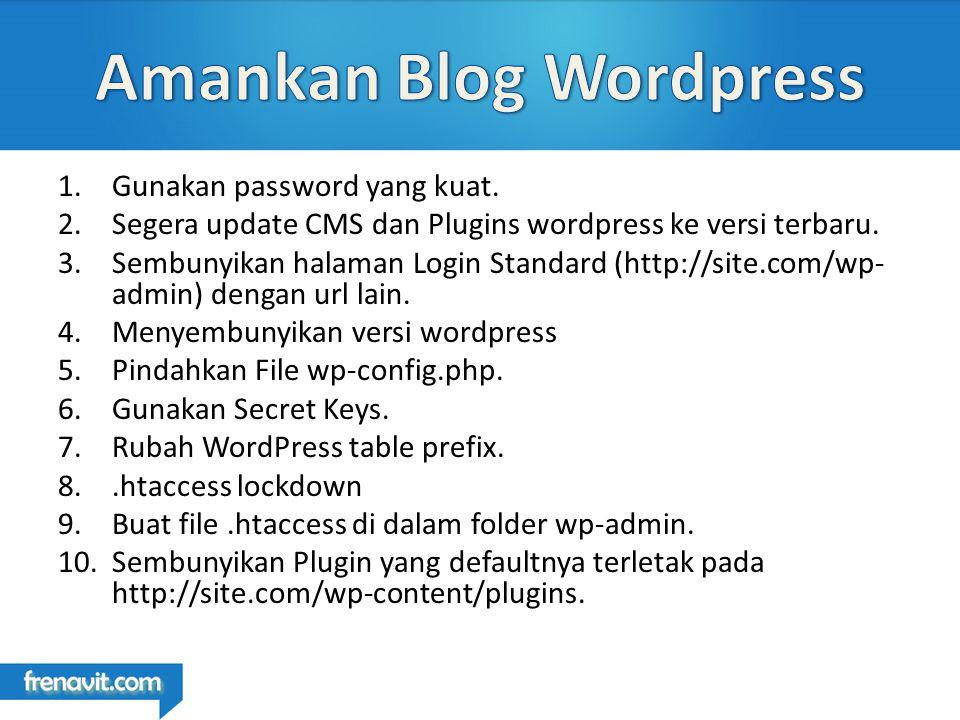 1.Gunakan password yang kuat.2.Segera update CMS dan Plugins wordpress ke versi terbaru.