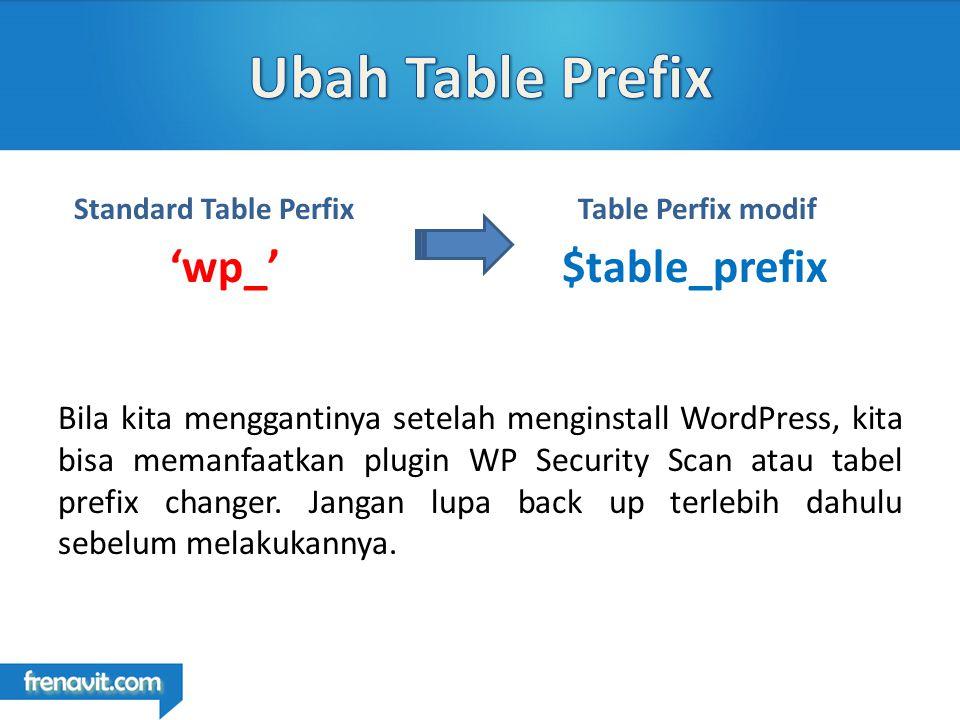 Bila kita menggantinya setelah menginstall WordPress, kita bisa memanfaatkan plugin WP Security Scan atau tabel prefix changer.