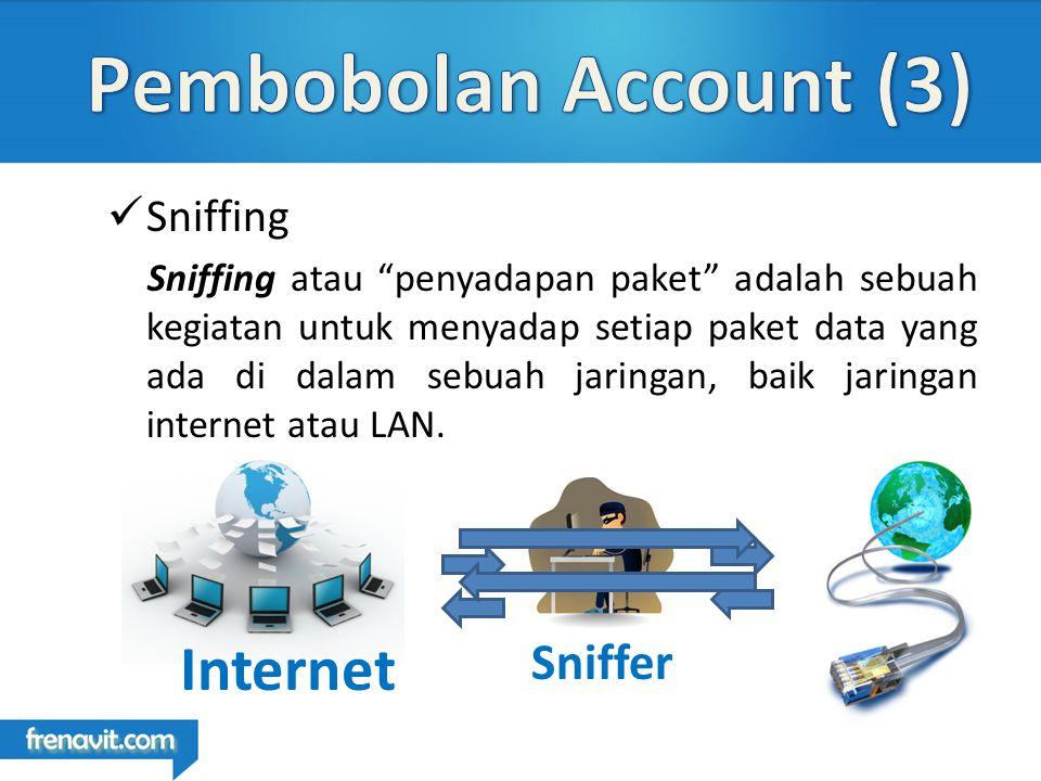Sniffing Sniffing atau penyadapan paket adalah sebuah kegiatan untuk menyadap setiap paket data yang ada di dalam sebuah jaringan, baik jaringan internet atau LAN.