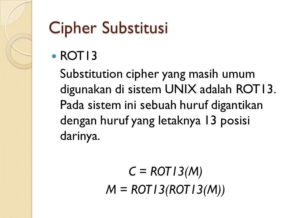 Cipher Substitusi ROT13 Substitution cipher yang masih umum digunakan di sistem UNIX adalah ROT13.