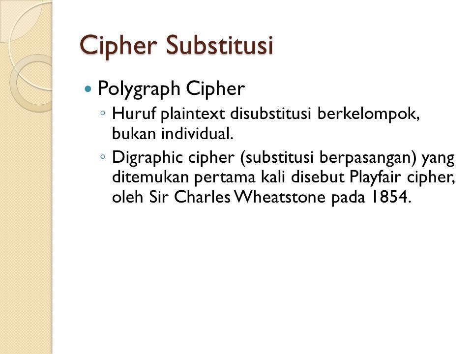 Cipher Substitusi Polygraph Cipher ◦ Huruf plaintext disubstitusi berkelompok, bukan individual.